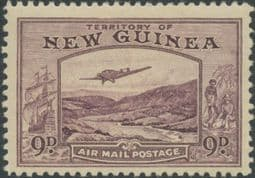 New Guinea SG220 9d. Bulolo Goldfields, violet inscr 'AIRMAIL POSTAGE' (GNMG/30)
