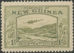 New Guinea SG221 1s. Bulolo Goldfields, pale blue-green inscr 'AIRMAIL POSTAGE' (GNMG/49)
