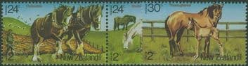 NZ SG1345a-7 Horses health stamps set of 3 including pair
