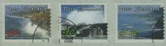 "NZ SG2516a Coastlines self-adhesives strip of 3 from FDC ""Jumbo Roll"" production"