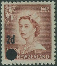 New Zealand Stamps SG763 2d on 1½d Brown-Lake Queen Elizabeth II with large dot surcharge