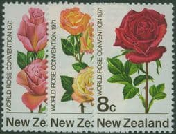 New Zealand Stamps SG967-9 First World Rose Convention, Hamilton set of 3