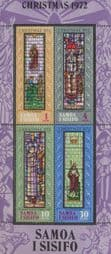 Samoa Stamps 1972 a SG MS404 Christmas 1972 - Stained-glass Windows in Apia Miniature sheet