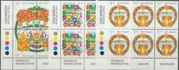 New Zealand Stamps SG 1746a-51 Christmas 1993 set of 6 imprint blocks of 6 or 8 (NF1/162)