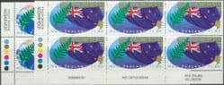 SG 1943-4 Commonwealth Heads of Government Meeting, Auckland set of 2 imprint block of 6 (NF1/84)