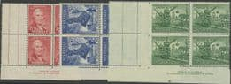 SG 219-21 ACSC 242za., 243zc., 244zc. Newcastle set of 3 imprint blocks of 4 (AA1/529)
