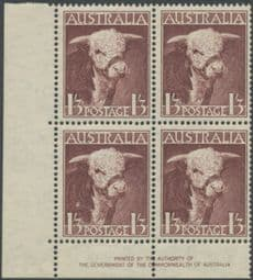 Australia SG 223 ACSC 260z. 1s3d Brown-Purple Bull imprint block of 4