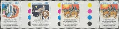 SG 828-30 Christmas 1981 set of 3 colour control circle gutter pairs (AF1/206)