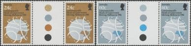 SG 831-2 Commonwealth Heads of Government Meeting set of 2 colour control gutter pairs (AF1/207)