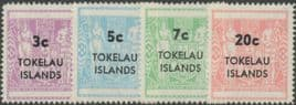 TOK SG12-15 1967 Postal Fiscal Stamps of New Zealand Surcharged