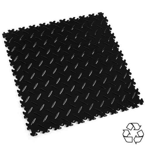 MotoLock HD Recycled PVC Interlocking Tiles (Black Diamond-plate)