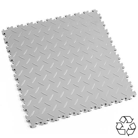 MotoLock HD Recycled PVC Interlocking Tiles (Light Grey Diamond-plate) | Stormflame