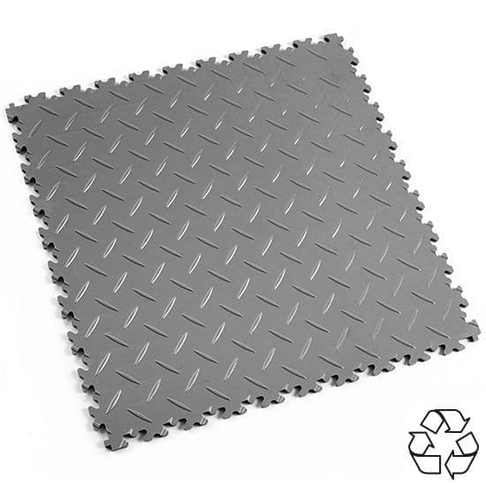 MotoLock HD Recycled PVC Interlocking Tiles (Mid Grey Diamond-plate) | Stormflame