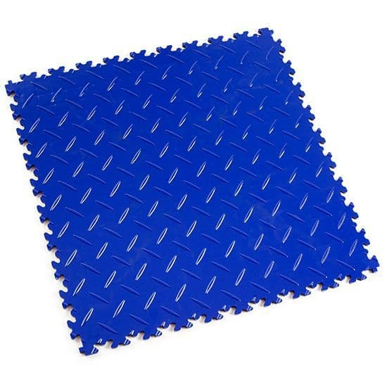 MotoLock Heavy Duty Interlocking Tiles (Blue Diamond-plate) | Stormflame