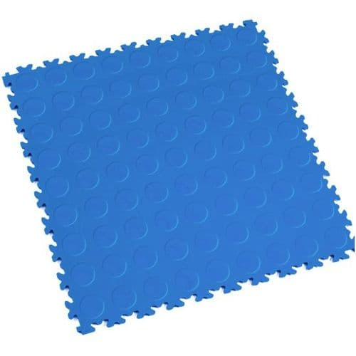 MotoLock Heavy Duty Interlocking Tiles (Electric Blue CoinTop)
