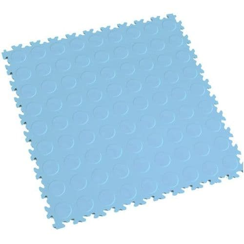 MotoLock Heavy Duty Interlocking Tiles (Light Blue CoinTop)