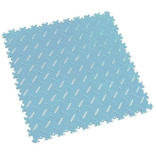 MotoLock Heavy Duty Interlocking Tiles (Light Blue Diamond-plate)
