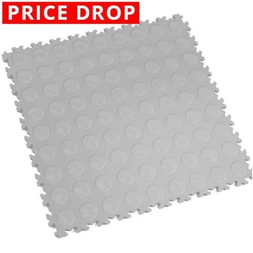 MotoLock Heavy Duty Interlocking Tiles (Light Grey CoinTop)