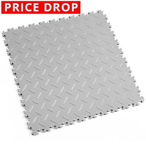 MotoLock Heavy Duty Interlocking Tiles (Light Grey Diamond-Plate)