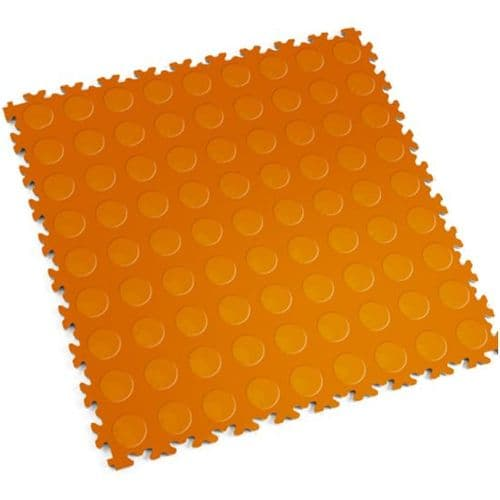 MotoLock Heavy Duty Interlocking Tiles (Orange CoinTop)