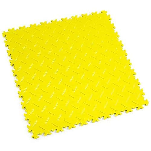 MotoLock Heavy Duty Interlocking Tiles (Yellow Diamond-plate)