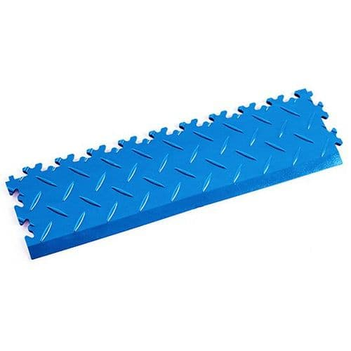 MotoLock Interlocking Tile Edging (Electric Blue Diamond-plate)