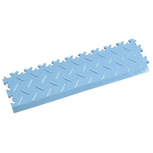 MotoLock Interlocking Tile Edging (Light Blue Diamond-plate)