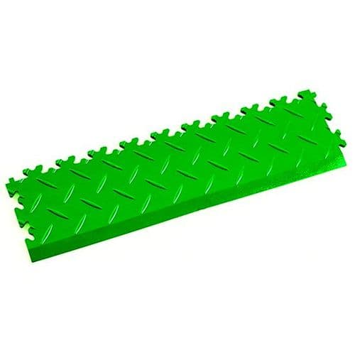 MotoLock Interlocking Tile Edging (Light Green Diamond-plate)