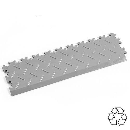 MotoLock Recycled PVC Tile Edging (Light Grey Diamond-plate)