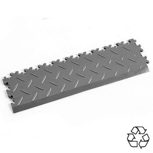 MotoLock Recycled PVC Tile Edging (Mid Grey Diamond-plate)