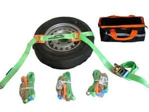 COMPLETE 4 WHEEL VEHICLE RECOVERY STRAP SET WITH A BAG