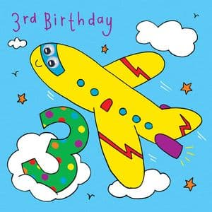 Aeroplane Birthday Card - age 3