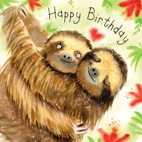 FIZ39 - Happy Birthday Card Sloths