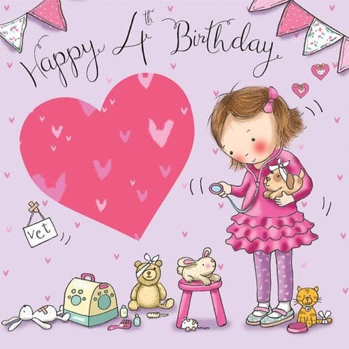 TW634 - Age 4 Birthday Card Girls