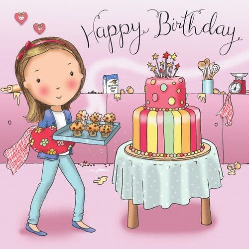TW669 - Girls Happy Birthday Card Cakes