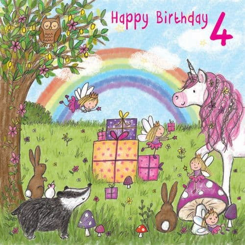 TW713 – Unicorn Age 4 Birthday Card Girls
