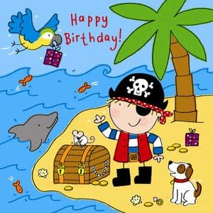 TW747 – Pirate Island Happy Birthday Card For Boy