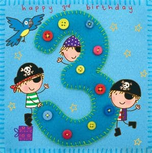Age 3 Pirate Birthday Card TW255