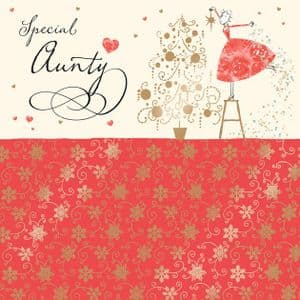Aunty Christmas Card with Gold Foiling, Contemporary Design and Red Envelope KIS33