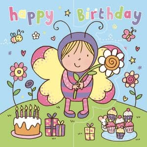 Butterfly Girl Birthday Card, Sparkly Card,  Pop Out Card TW197
