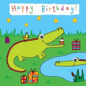 Childrens Birthday Card - Crocodile
