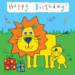 Childrens Birthday Card - Lion