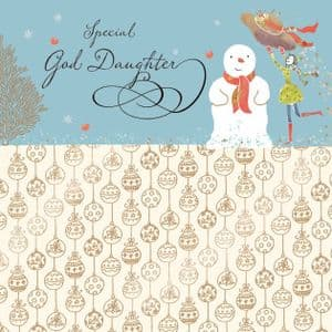 God Daughter Christmas Card with Gold Foiling, Contemporary Design and Red Envelope KIS28