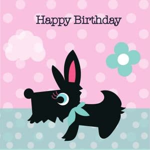 Happy Birthday Card - Bailey pink spot
