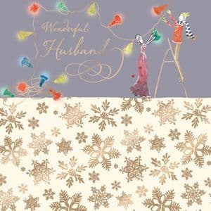 Husband Christmas Card with Gold Foiling, Contemporary Design and Red Envelope KIS13