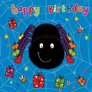 Spider Birthday Card, Sparkly Card,  Pop Out Card TW192