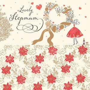 Stepmum Christmas Card with Gold Foiling, Contemporary Design and Red Envelope KIS26