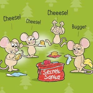XMAS8 – Mouse Secret Santa Happy Christmas Card
